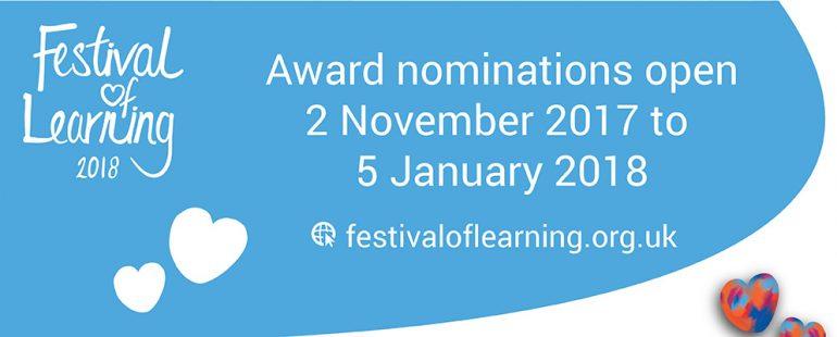 Festival of Learning, award nominations open 2 November to 5 january 2018