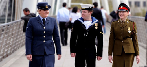 Male and female forces staff from Army, Navy and RAF