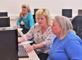 Adults at computer