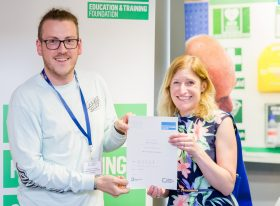 Adam Thompson receives his PGCE certificate