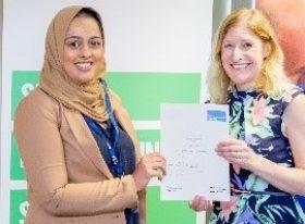 Neelam Hussain receives her PGCE certificate
