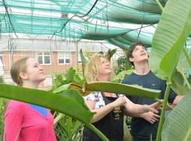 Teacher and students in greenhouse