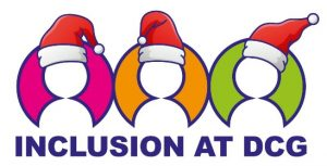 Derby College Group logo with Christmas hats
