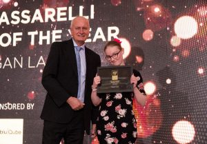 Student Morgan Lade receiving her SEND student of the year award