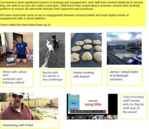 Images with text of what staff and learners have been up to