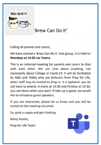 Text invite for 'Brew Can Do It' chat group
