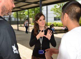 Woman using sign language