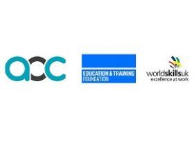 Logos of the Association of Colleges, Education and Training Foundation, WorldSkills UK