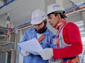 Student on a building site
