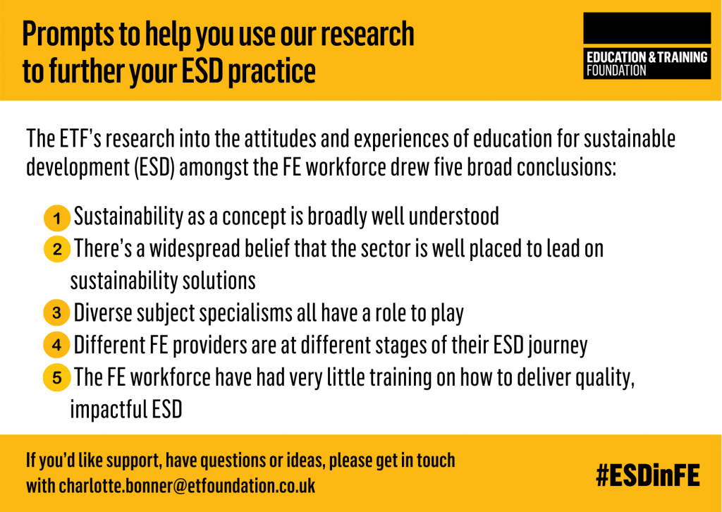 Prompts to help you use our research to further your ESD practice