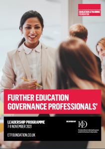 FE governance professionals leadership programme brochure cover